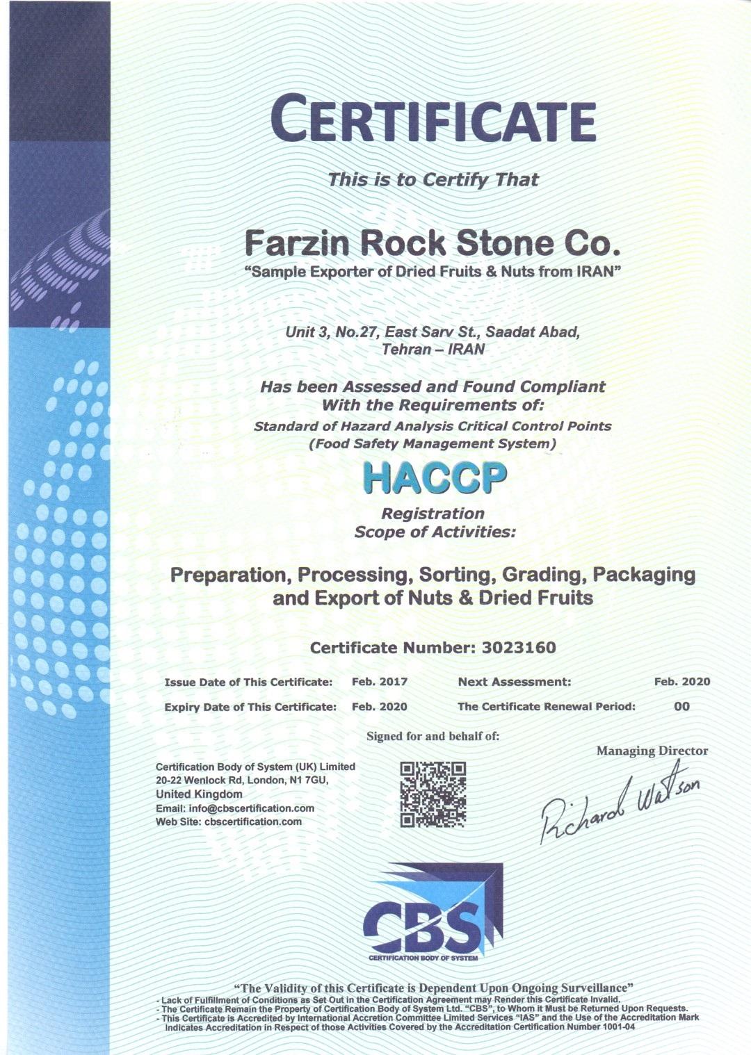 HACCP Certificate