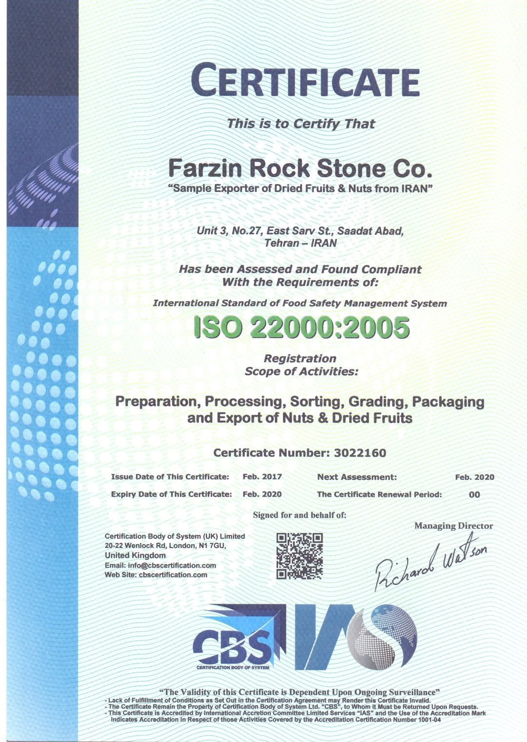 iso 22000 : 2005 Certificate